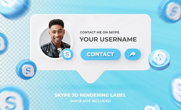 Profil ikony banera na szablonie etykiety renderowania 3d skype
