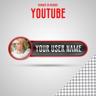 Profil ikony banera na youtube 3d renderowany baner na białym tle