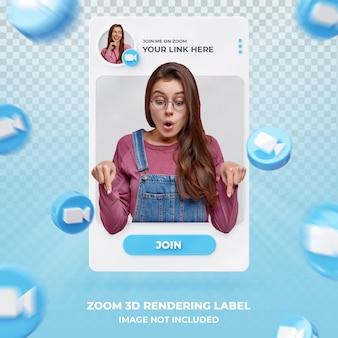 Profil ikony banera przy powiększeniu 3d renderowania szablonu etykiety