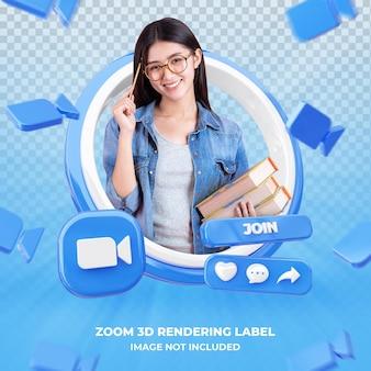 Profil ikony baneru na powiększeniu etykieta renderowania 3d na białym tle