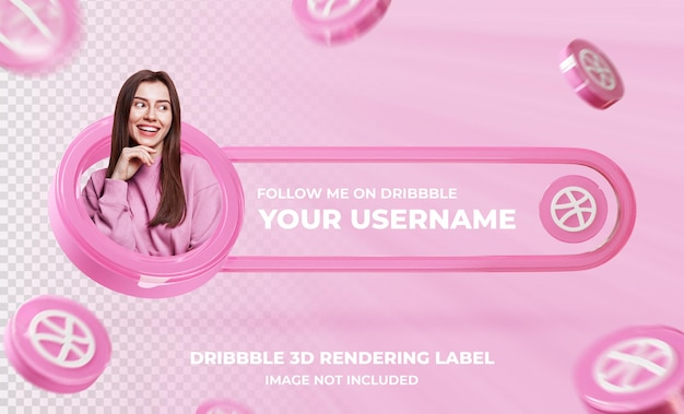 Profil ikony transparentu na szablonie renderowania 3d dribbble