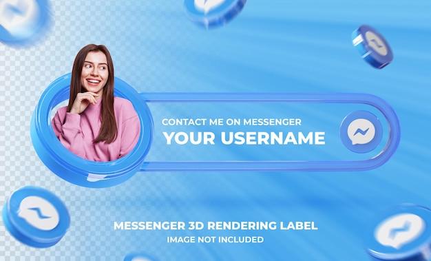 Profil ikony transparentu na szablonie renderowania 3d messenger