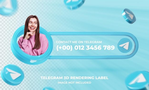 Profil ikony transparentu na szablonie renderowania 3d telegramu