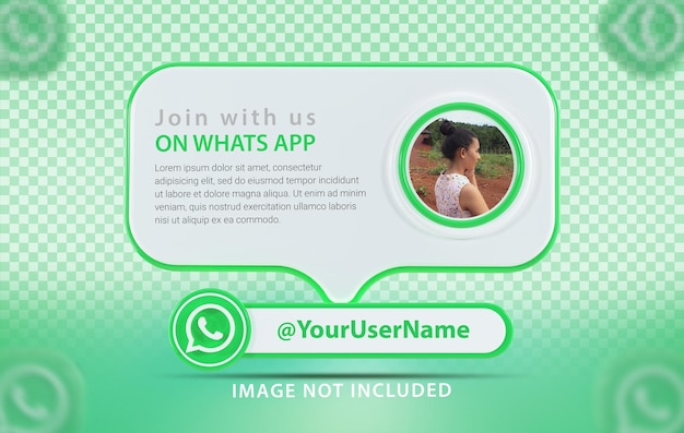 Profil makiety banera z ikoną whats app 3d render