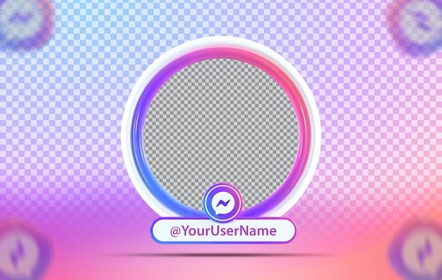 Profil makiety koncepcji kreatywnej z ikoną messengera