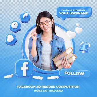 Profil na facebooku renderowania 3d na białym tle