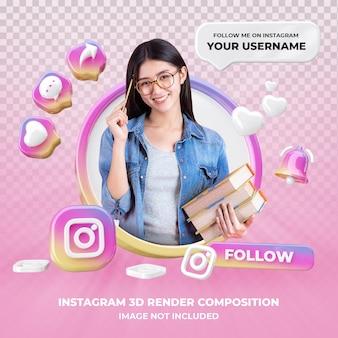 Profil na instagramie renderowania 3d na białym tle