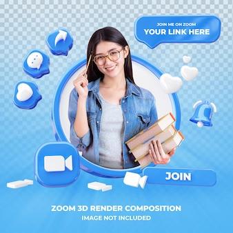 Profil na powiększenie renderowania 3d na białym tle