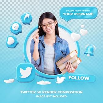 Profil na twitterze renderowania 3d na białym tle
