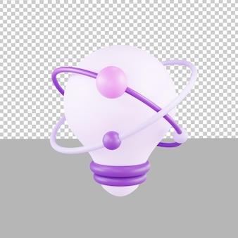 Projekt 3d ikona lampa kreatywny pomysł ilustracja biznes