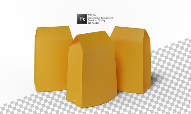 Projekt 3d ilustracji torby z przekąskami