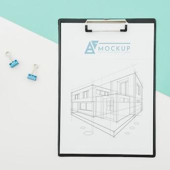 Projekt architektury widoku z góry z makietą