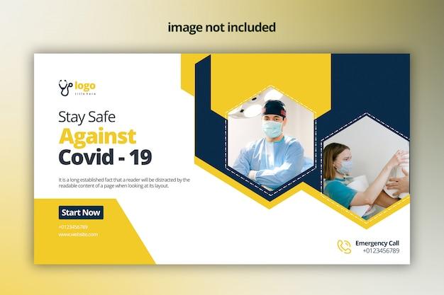 Projekt banera internetowego covid -19 premium