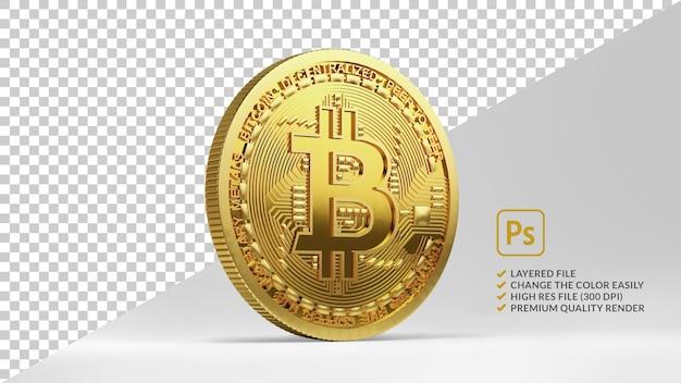 Projekt bitcoin na białym tle w renderowaniu 3d