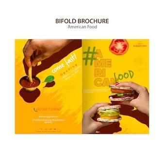 Projekt broszury amerykańskiej żywności typu bifold