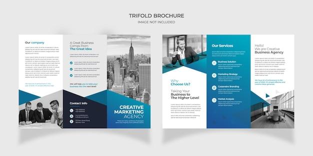 Projekt broszury składanej na trzy części do marketingu cyfrowego