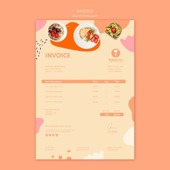 Projekt faktury dla restauracji brunch