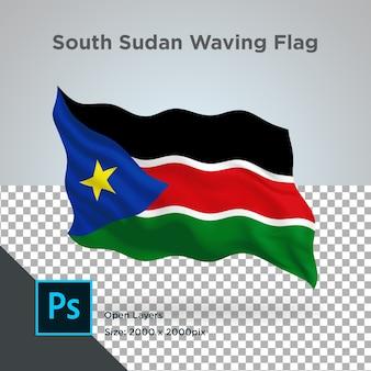 Projekt fali flagi sudanu południowego przezroczysty