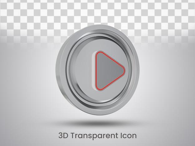 Projekt ikony przycisku odtwarzania renderowanego 3d, widok z lewej strony
