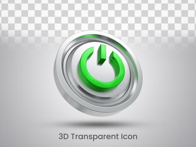 Projekt ikony przycisku zasilania renderowanego 3d lewy widok z dołu
