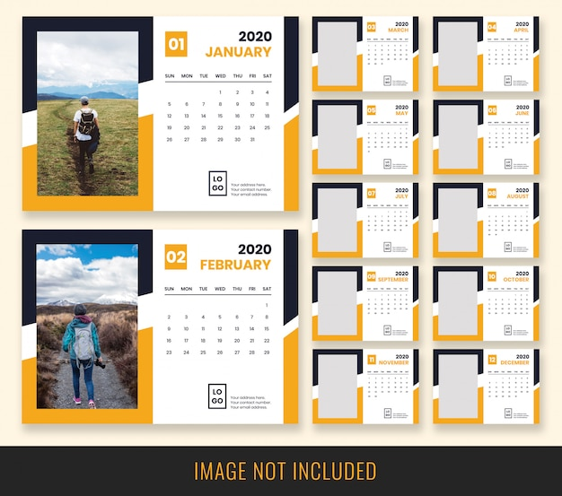 Projekt kalendarza biurkowego 2020