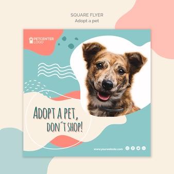 Projekt kwadratu ulotki adopcji zwierząt