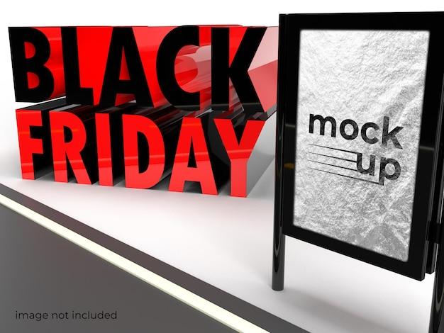 Projekt makieta billboardu 3d czcionki czarny piątek