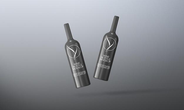 Projekt makieta butelki wina czarnego na białym tle