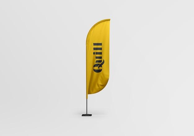 Projekt makieta flagi pióro na białym tle