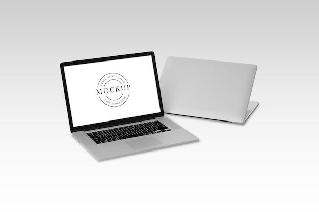 Projekt makieta laptopa na białym tle