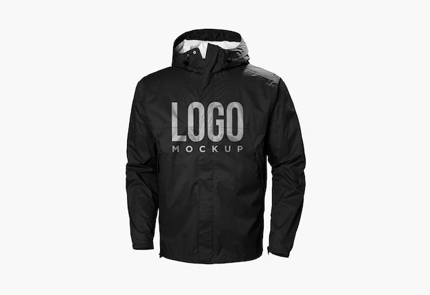 Projekt makieta logo czarna kurtka na białym tle