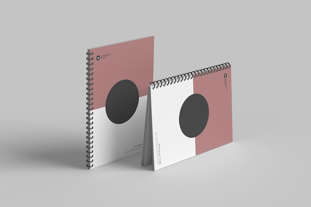 Projekt makieta notebooka spirala na białym tle