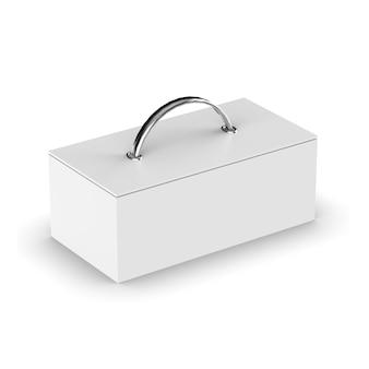 Projekt makieta poziomego pudełka na białym tle