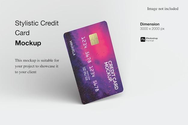 Projekt makieta stylistycznej karty kredytowej na białym tle