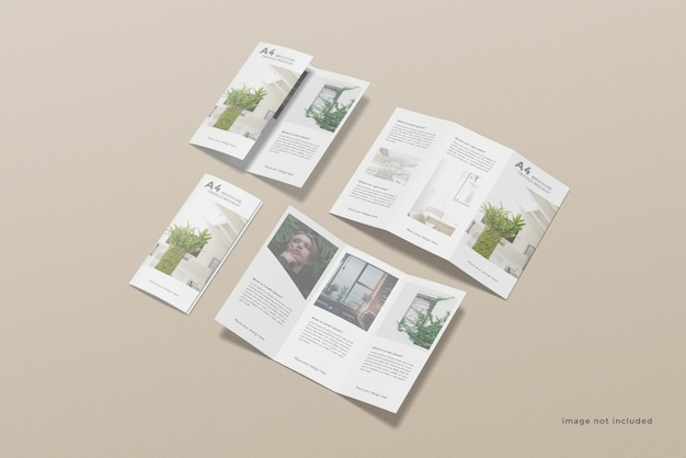 Projekt makiety broszury trifold ustawiony pod wysokim kątem