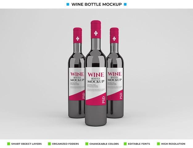 Projekt makiety butelki czerwonego wina w koncepcji napoju