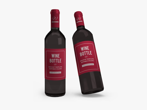 Projekt makiety butelki wina na białym tle