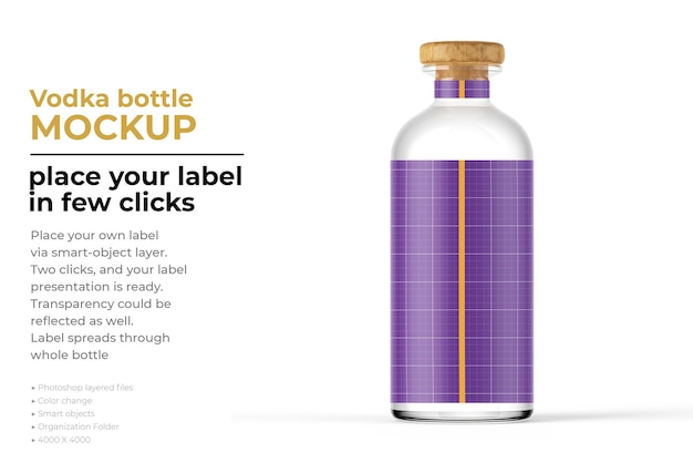 Projekt makiety butelki wódki w renderowaniu 3d
