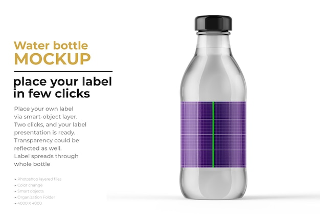 Projekt makiety butelki wody w renderowaniu 3d