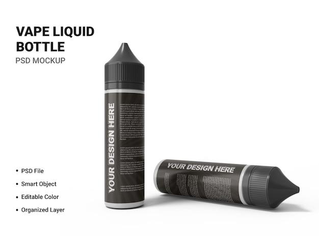 Projekt makiety butelki z płynem vape na białym tle