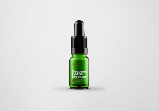 Projekt makiety butelki z zielonym szklanym zakraplaczem