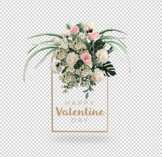 Projekt makiety dekoracji walentynkowych kwiatów