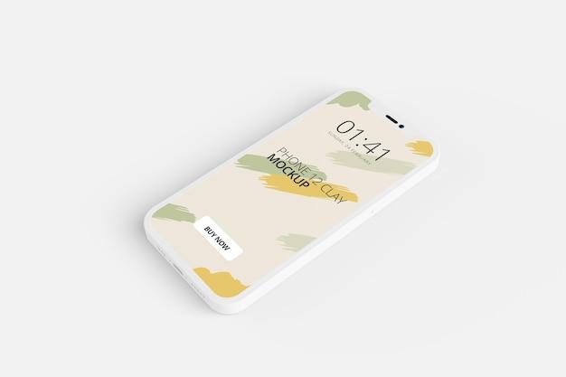 Projekt makiety ekranu telefonu gliny na białym tle