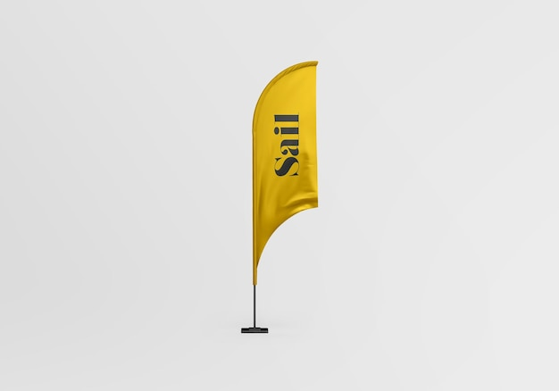 Projekt makiety flagi żagla na białym tle