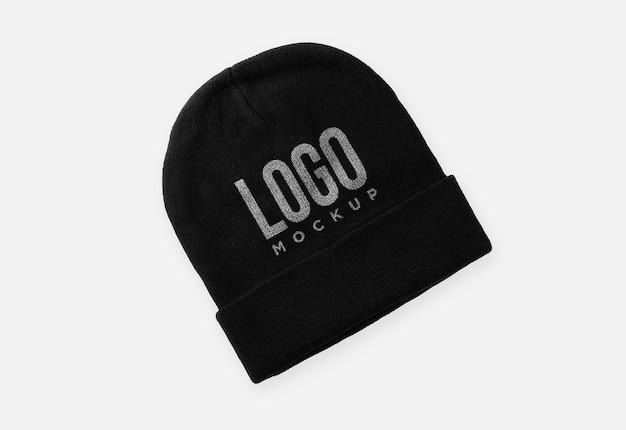 Projekt makiety logo czarnej czapki beanie