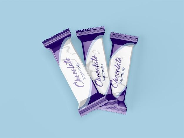 Projekt makiety opakowania czekoladowego na białym tle