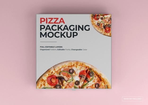 Projekt makiety opakowania pizzy na białym tle