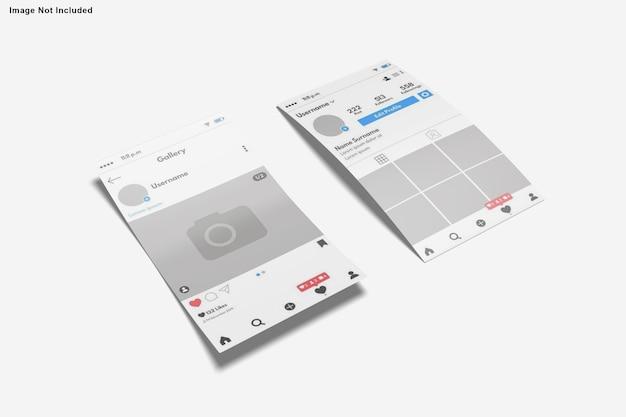 Projekt makiety opowiadań na instagramie na białym tle