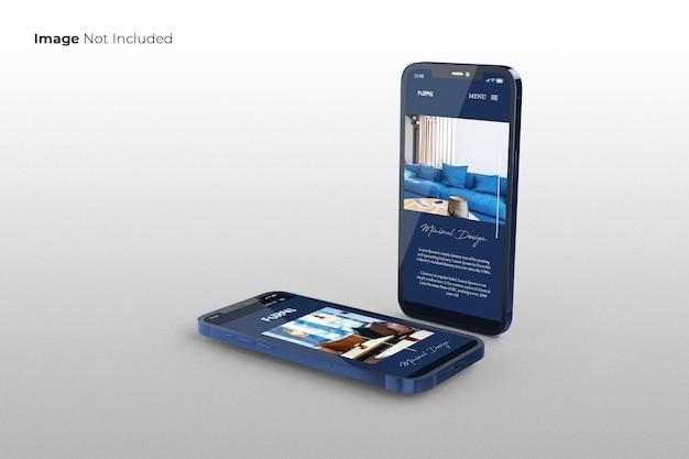 Projekt makiety pełnoekranowego smartfona z niebieskim ekranem