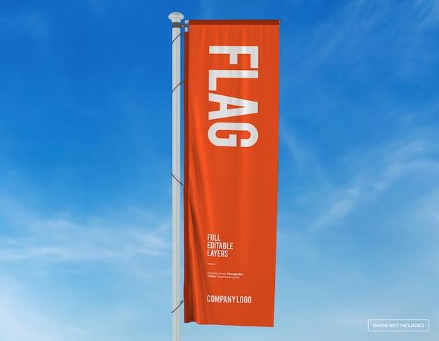 Projekt makiety pionowej flagi z edytowalnym projektem